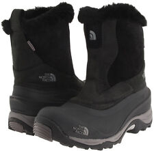 The North Face Greenland Zip II Boots Women Sheepskin fur trim Sz 5 M Black Grey