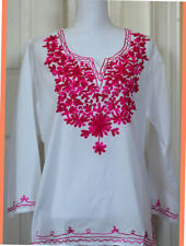 Pink Magenta Embroidered Flowers White Color Cotton Tunic Top Kurti from India M