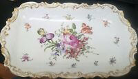 "Antique Dresden German Handpainted Floral Purple & Gold 16"" Platter"