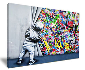 Kid Behind The Curtain By Banksy HD Framed Canvas Wall Art Picture Print