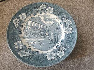 ROYAL TUDOR WARE COACHING TAVERNS 1828 STAFFS VINTAGE 6 DINNER PLATES GREEN