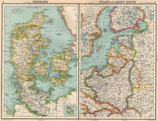 BALTIC.Denmark Poland East Prussia.Shows Free City of Danzig(Gdansk) 1924 map