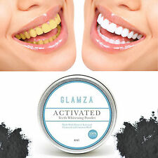 GLAMZA Activated Charcoal Teeth Whitening Powder Black Toothpowder Tooth 15g Tub
