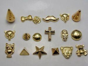 100 Assorted Gold Tone Metallic Acrylic Flatback Spike Star Animal Studs No hole