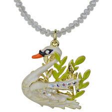 Kirks Folly Fairyland Swan Beaded Necklace  goldtone