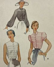 1950s Mccall 8057 Vintage Sewing Pattern Blouse Bust 30