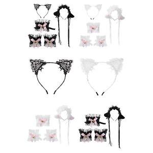 Women Ladies Cat Ears Tassel Hair Hoop Neck Collar&Cuffs Set For Animal Cosplay