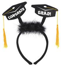 "AMPRO* Black+Gold HEADBOPPER ""Congrats Grad!"" HEADBAND W/TASSELS Graduation NEW!"
