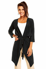 Ladies Tassle Lightweight tie Cardigan Long Jacket Size 12 - 14 casual waterfall