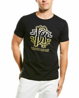 NWT Roberto Cavalli HST611 A475 Graphic Crew Neck Cotton Black T-Shirt Size XL