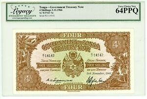 Tonga ... P-6e ... 4 Shillings ... 3.Nov.1966 ... Gem *UNC* ... (64 PPQ)