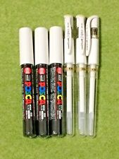 Uni-Ball Signo Pen 1.0mm White 3 pack Posca Marker PC-1M  0.7mm White 3 pack SET