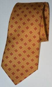 Hermes Tie 7801 FA Tie 100% Silk Geometric Print Red And Orange Made In France