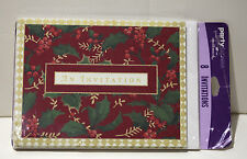 NWT Party Express Red Harlequin Holly Holiday Invitations Set of 8