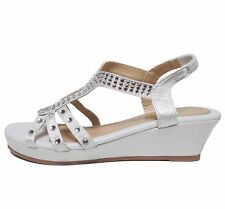 New Kids Girls Keyhole Gladiator Stretch Slingback Wedge Sandal Shoe Size 9 to 3