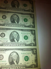 1976 Uncut Sheet 4 X $ 2 Crisp US 2 Dollars Uncirculated *LEGAL MONEY GIFT BILLS