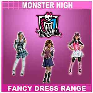 NEW SMALL MONSTER HIGH FRANKIE, CLAWDEEN, DRACULAURA FANCY DRESS COSTUME