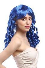 Perruque Femmes Carnaval Cosplay Tire-bouchon Boucles lang Pony bleu