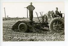 Two Row Potato Digger RPPC Caribou Maine—Vintage Farming Equipment 1940s