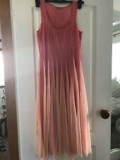 Ladies Beautiful Peach And Ivory Chiffon Dress Size 10