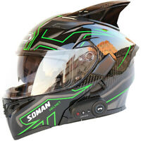 2020 Soman Motorcycle Bluetooth Helmet Flip Up Modular Motobike Helmet With Horn