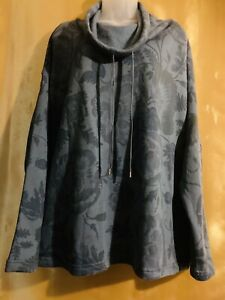 Chaps Women's Top Blue Floral 2X Pullover w/Drawstring Neck NEW