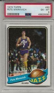 1979 Topps PETE MARAVICH # 60 PSA 6 EX - MT Utah Jazz HOF