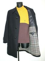 LORD MODELL 80s Vintage Blue Wool Coat Overcoat Plaid Liner Mens Size 50 UK 40 2