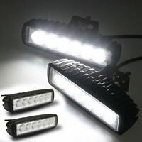 2X 6INCH 18W LED WORK LIGHT BAR FLOOD DRIVING LIGHTS OFFROAD FOG 4WD BOAT UTE