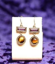 Vintage Patricia Locke Silver Tone Earrings Tiger Eye Swarovski Crystals NWOT