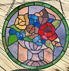 Leaded Stained Glass Hanging Circular Panel Roses in Pot Urn  12  Diameter