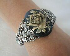 Rose Cuff Bracelet, gothic renaissance victorian edwardian art nouveau art deco