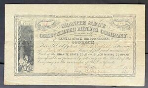 GRANITE STATE GOLD & SILVER MINING CO. Stock 1880. Keene, Cheshire Co., NH. VF++