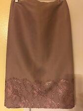 Plus Size Women's Salon Z Sunny Choi  Silk Wool  Lace Trim Skirt Nude Size  24W