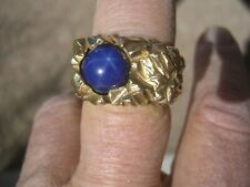 Star Sapphire Ring 30.2 g Sz 12 14kt Gold Men'S Heavy Nugget Style Blue
