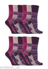 12 Pairs Womens Sockshop Gentle grip socks 4-8 uk,37-42 Stripe Dot Pink GG55