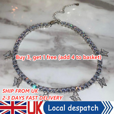 Fashion Silver Crystal Rhinestone Butterfly Pendant Necklace Clavicle Choker UK!