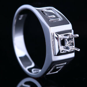 Sterling Silver Semi Mount Band Ring 5mm Round Men Jewelry Engagement & Wedding