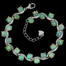 NATURAL AAA RAINBOW OPAL & WHITE CZ STERLING 925 SILVER BRACELET 6.5 - 7.5