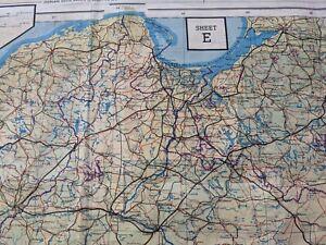 RAF Pilot's Silk Escape Map WW2 Sheets E & F double-sided Vgc