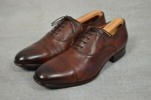 SANTONI Made in Italy brown leather men's oxford lace up formal shoes UK 8