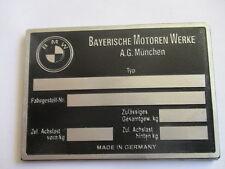 Typenschild BMW blanco neutral Oldtimer 501 502 503  600 700 3200 cs s22