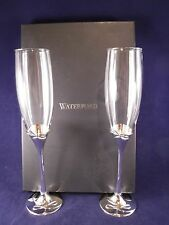 WATERFORD LEAD CRYSTAL & SILVERPLATE TOASTING FLUTES WEDDING GIFT NEW IN BOX