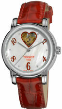 Tissot Lady Heart White Pearl Dial Red Leather Auto Women Watch T0502071611602