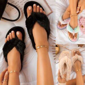 LADIES WOMENS INDOOR WARM SLIP ON FLAT TOE POST FLUFFY SOFY SLIPPERS SLIDERS SIZ