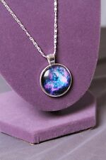 Blue, Purple & Pink Nebula Galaxy Space Stars Necklace w/ silver toned setting
