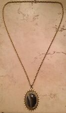 Trifari Necklace Gold Gray Stone or Glass Pendant Vintage