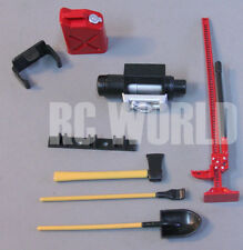 RC Scale TOOL ACCESSORIES Shovel-Axe-Winch-Fuel Container-Jack -For Roof Rack