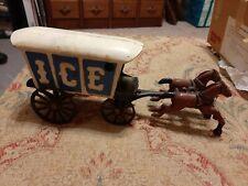 CAST IRON ICE WAGON 2-HORSE DRAWN TOY WAGON