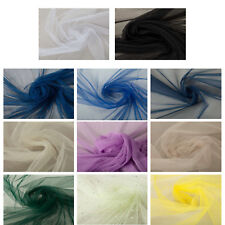 Premium Quality Tulle Mesh Net Plain Fabric Dress Upholstery Crafts Colours